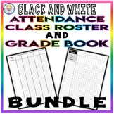 BUNDLE!! Editable Attendance Class Roster & Grade Book Templates - Black & White