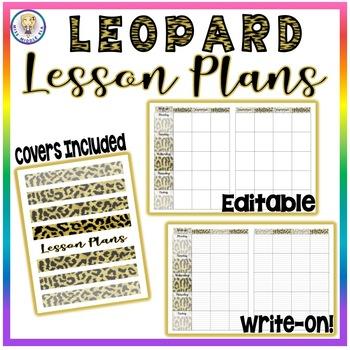 BUNDLE! Editable Lesson Plans, Attendance, Grade Book, & Class Roster! - Leopard