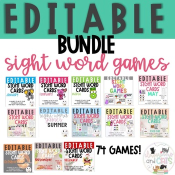 *GROWING BUNDLE* Editable Sight Word Cards for games & Write the room