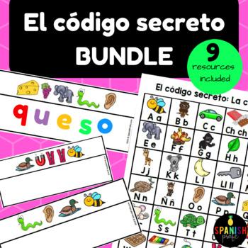 BUNDLE: El código secreto: palabras secretas (Spanish Secret Code Words Center)