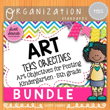 BUNDLE Elementary Art Standards TEKS: Kindergarten - 5th