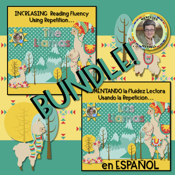 BUNDLE! English and Spanish Increasing Reading Fluency Using Repetition...LLAMAS