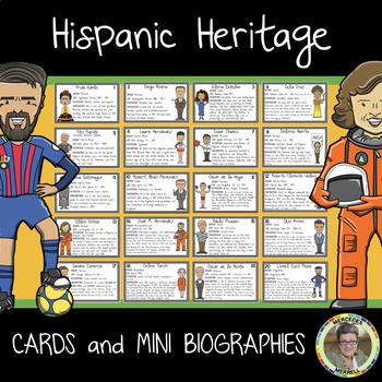 BUNDLE! English and Spanish Hispanic Heritage Cards and Mini Biographies
