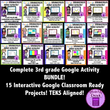 BUNDLE- Entire 3rd grade Google Activities Distance Learning TEKS Aligned