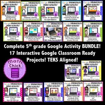 BUNDLE- Entire 5th grade Google Interactive Activities Collection TEKS Aligned