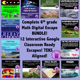 BUNDLE- Entire 6th grade Digital Escape Breakout Entire Collection TEKS Aligned
