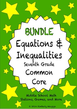 BUNDLE Equations and Inequalities Math Stations for Common Core Seventh Grade