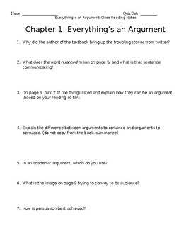 BUNDLE Everything's an Argument Ch. 1-6 Close Reading Notes