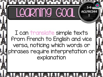 BUNDLE! F-6 FRENCH  Au. Curric. F-10 Learning Goals & Success Criteria Posters.