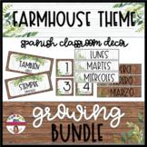BUNDLE: FARMHOUSE theme Spanish Classroom Decor
