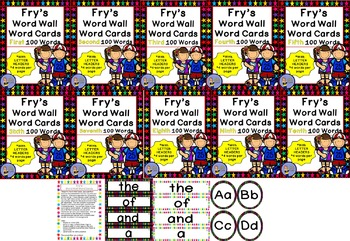 BUNDLE - FRY Word Wall Cards - 10 Sets X 2 Styles