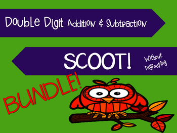 BUNDLE: Fall Double Digit Addition AND Subtraction Scoot