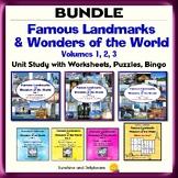 Famous Landmarks & Wonders of the World Vol. 1-2-3 & Bingo! - Geography BUNDLE