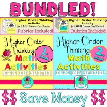 BUNDLE First & Second Grade Higher Order Thinking Math Activities Common Core