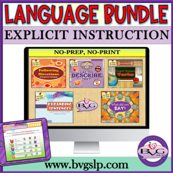 BUNDLE Five Complete Language Units NO PREP NO PRINT - Teletherapy