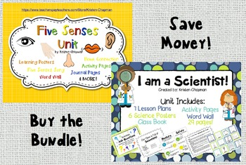 BUNDLE Five Senses Unit and I am a Scientist! Unit