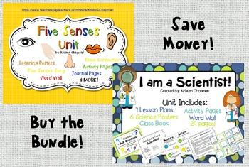 BUNDLE Five Senses Unit and I am a Scientist! Unit