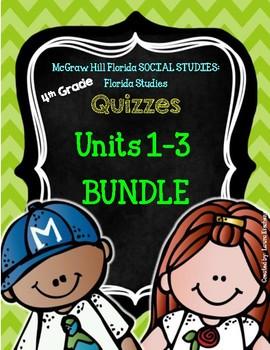 BUNDLE Florida Social Studies FLORIDA STUDIES Grade 4 Units 1- 3 Quizzes
