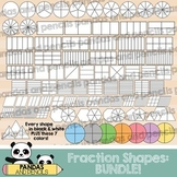 Fraction Shapes Clip Art:BUNDLE! Circles/Squares/Rectangles & more! *THIN LINES*