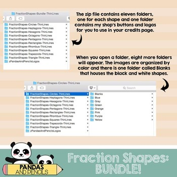 Fraction Shapes Clip Art:BUNDLE! Circles/Squares/Rectangles & more! *THIN LINES*