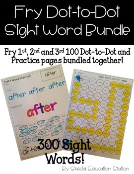 BUNDLE Fry 1st, 2nd and 3rd 100 Sight Words: Dot to Dot and Stamp It sheets