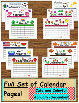 BUNDLE! Full Set of Calendar Pages PLUS Coloring Pages with Word Tracers