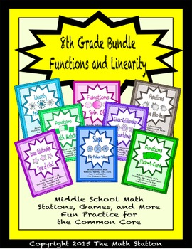 BUNDLE Functions & Linearity Math Stations for Common Core Eighth Grade