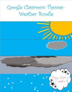 BUNDLE Google Classroom Animated Theme Weather Bundle (4 Themes/Banners)