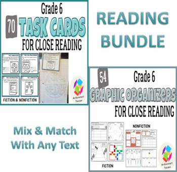BUNDLE: Grade 6 Common Core Reading Graphic Organizers AND Task Cards