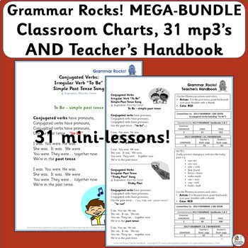 Grammar Songs! MEGA BUNDLE: 31 mp3's, Charts & Handbook (SASSOON) Grades 1 & 2