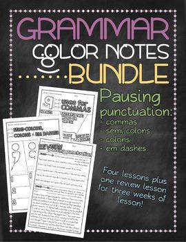 BUNDLE 2! Grammar doodle notes: Unit 2 - Pausing punctuation