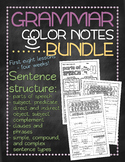 BUNDLE 1! Grammar doodle notes: Unit 1 - Sentence structure