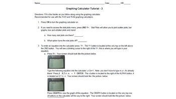 BUNDLE! Graphing Calculator Tutorial 3 and Practice Sheet (Intro to Calculator)