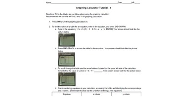 BUNDLE! Graphing Calculator Tutorial 4 and Practice Sheet (Intro to Calculator)