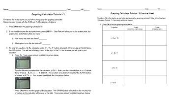 BUNDLE! Graphing Calculator Tutorials 1-4 & Practice Sheets Intro to Calculator