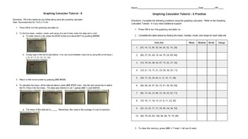 BUNDLE! Graphing Calculator Tutorials 5-8 and Practice Sheets Intro to the Calc