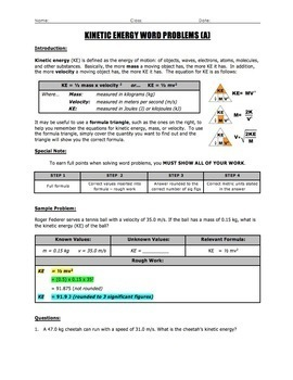 BUNDLE - Gravitational Potential Energy & Kinetic Energy Word Problems & Quiz