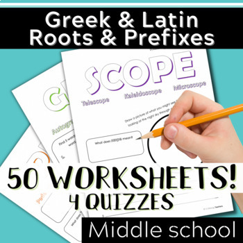 WORKSHEET BUNDLE Parts 1-4: Greek & Latin Root Words and Prefixes