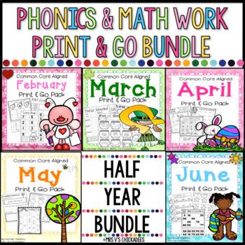 BUNDLE Half Year Kindergarten No Prep Phonics, Literacy & Math Work: Feb-June