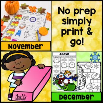BUNDLE Half Year Kindergarten No Prep Phonics, Literacy & Math Work: Sep-Jan