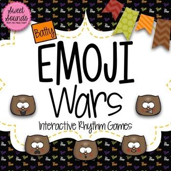 BUNDLE Halloween Bats Emoji Wars {7 Interactive Rhythm Games}