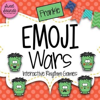 BUNDLE Halloween Frankie Emoji Wars {7 Interactive Rhythm Games}
