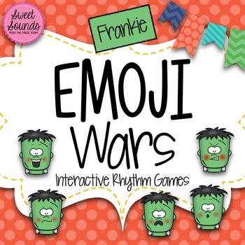 BUNDLE Halloween Frankie Emoji Wars {7 Interactive Rhythm Games}
