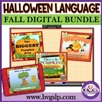 BUNDLE Halloween Language and Literacy NO PREP NO PRINT - Teletherapy