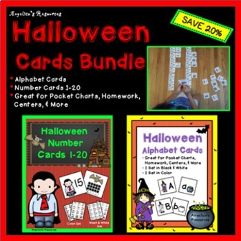 Halloween Activities Bundle: Number Cards 1-20 and Alphabet Cards