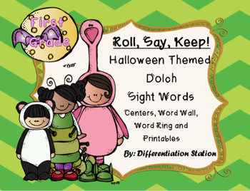 """BUNDLE!  Halloween """"Roll, Say, Keep!"""" ALL Dolch Sight Word"""