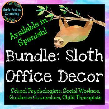 BUNDLE:  Hanging Sloth Counseling Office Decor - Available in Spanish!