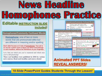 BUNDLE: Homophones in News Headlines Interactive PowerPoint & Worksheets