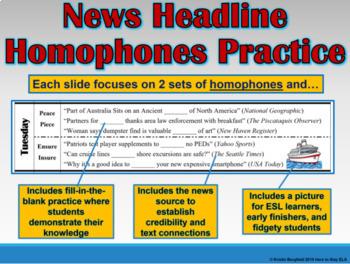 BUNDLE: Homophones in News Headlines Interactive PowerPoint & Worksheets