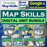 BUNDLE | Google Classroom Map Skills Unit | World Map | Di